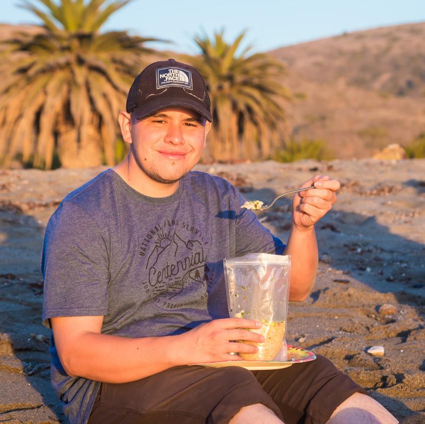Jeremy with his Dottie's Chicken