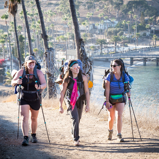 The Girls Heading to the Campsite
