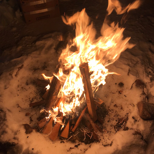 Snowy Campfire