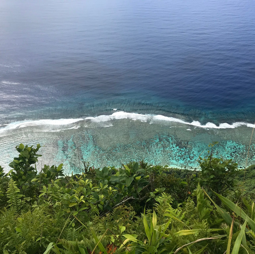 Looking down at the coral lagoons