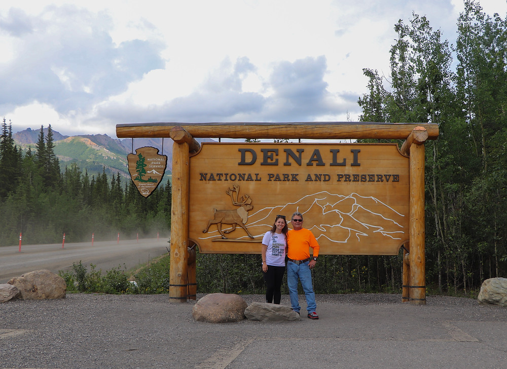 Dad and me entering Denali National Park and Preserve
