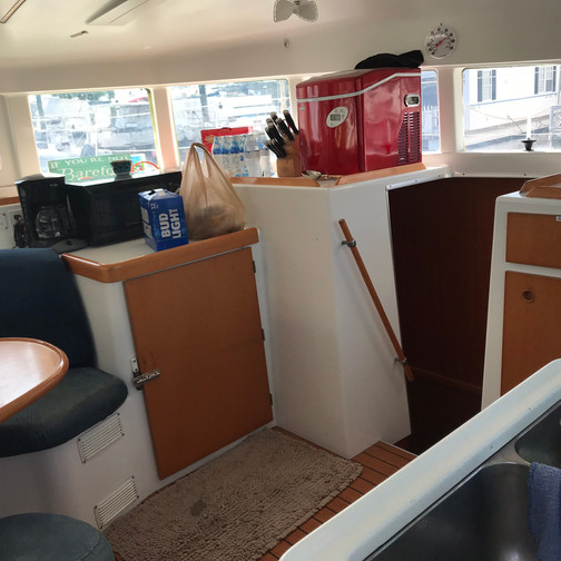 Kitchen Area Aboard the Boat