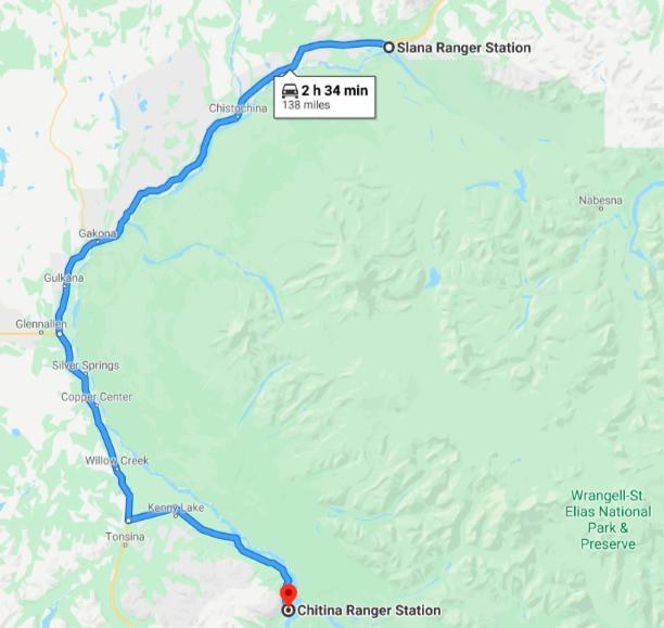 Map of Slana Ranger Station (Nabesna Road) to McCarthy Road