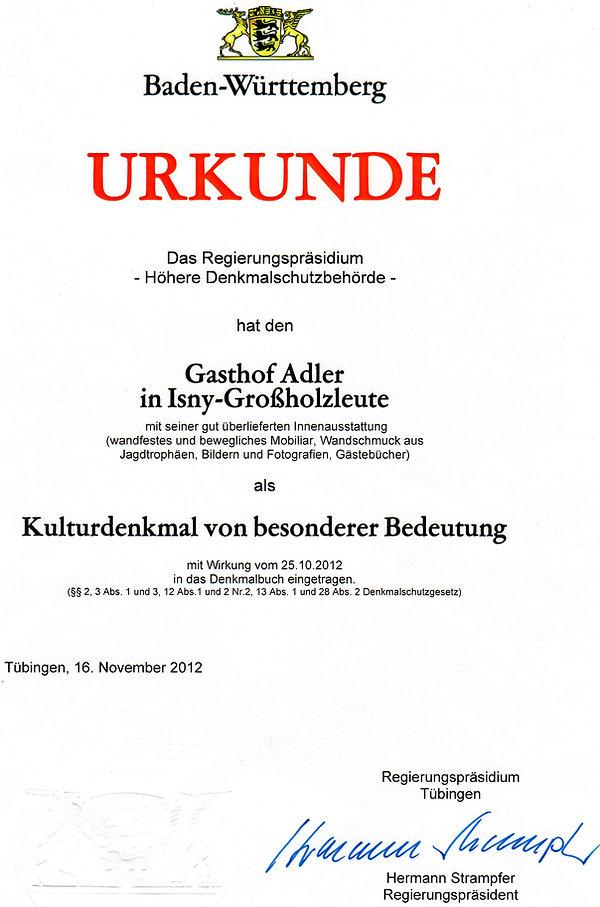 Urkunde Denkmalschutz