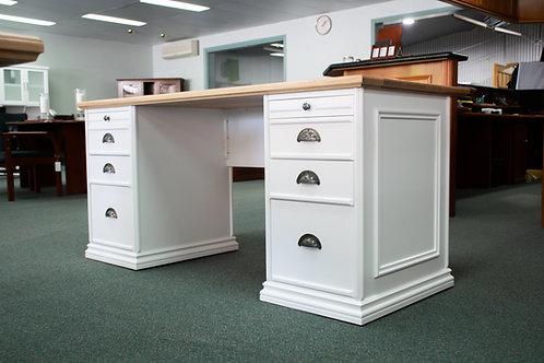 Victorian Style Twin Pedestal White Desk