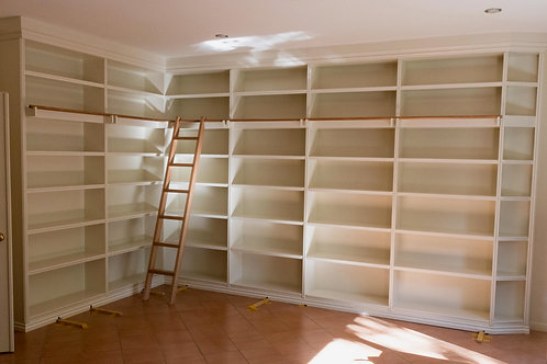 Fitted Library Bookshelves with Ladder