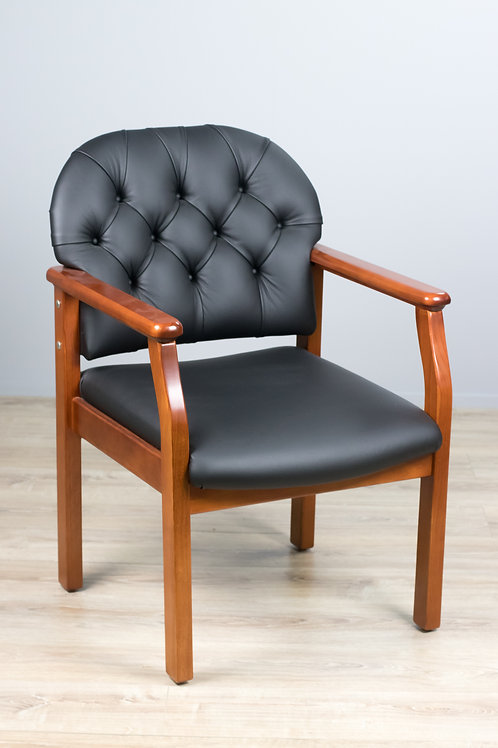 Button Back 4-Leg Visitor Chair in Leather