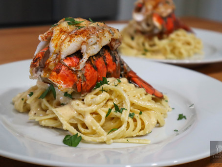 Lobster Tail with Pasta in Alfredo
