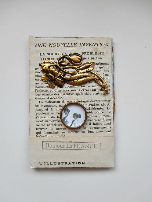 Antique French Papier with Vintage Brass Pieces #LB