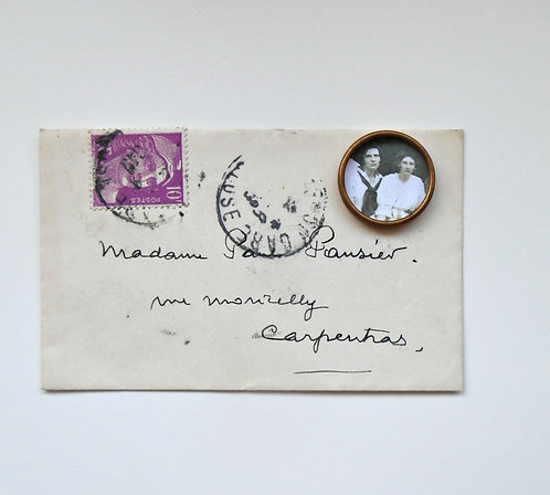 Vintage French Envelope with Photo Bezel #PF