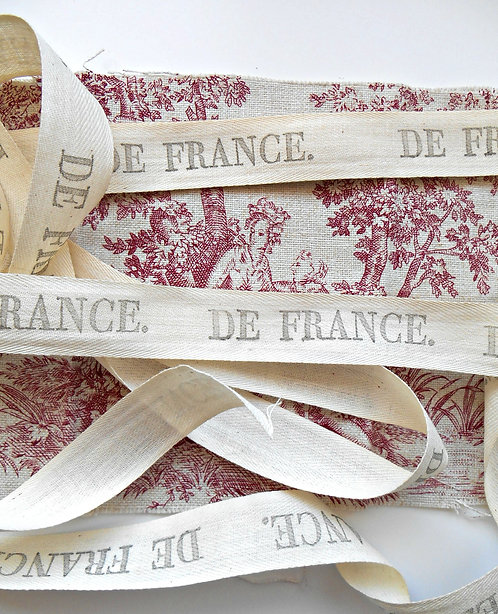 36 Inches of Stamped De France Cotton Ribbon
