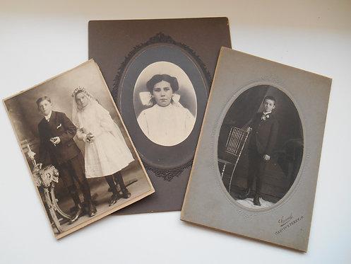 3 Antique Photos Children
