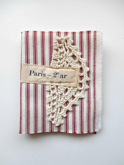 "Red Ticking Fabric Journal ""Paris"""