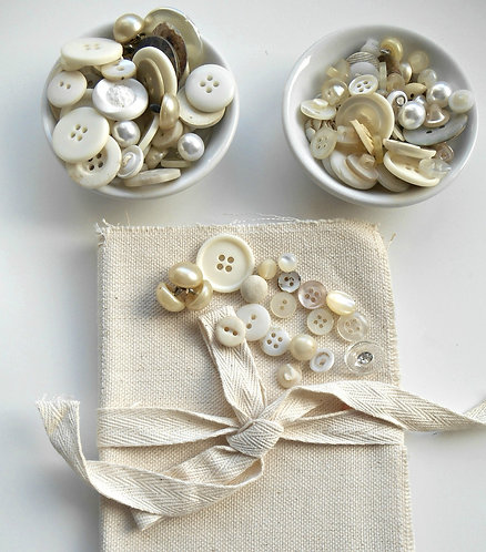 35 Vintage White & Off White Buttons