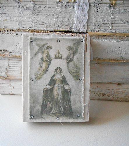 Petite St. Ursula Fabric Image on Wood