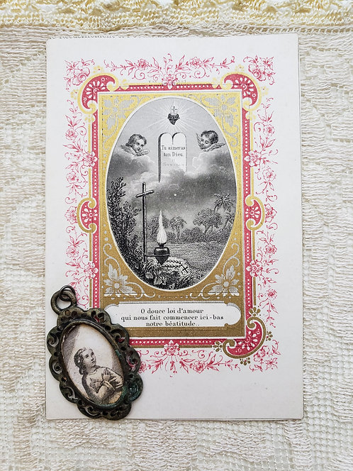 Antique French Holy Card & Pendant