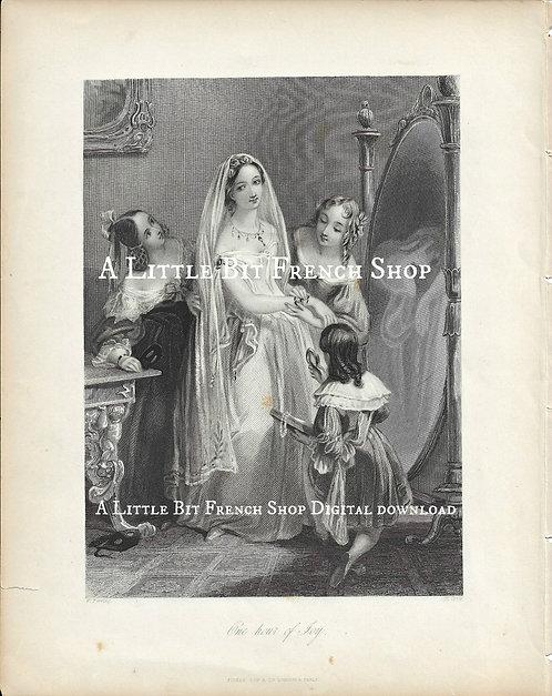 Digital Download Antique Bride Engraving 01