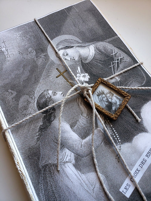 Vintage Altered Book with Religious Pendant