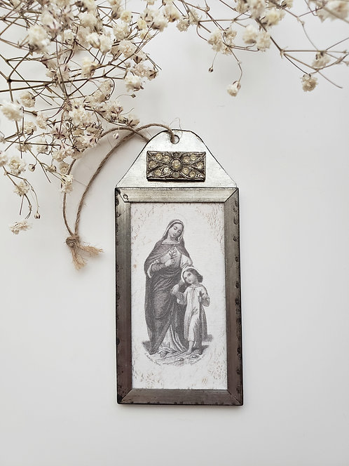 Metal Frame Mary & Child
