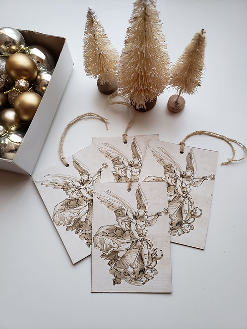 4 Gold Angel Gift Tags