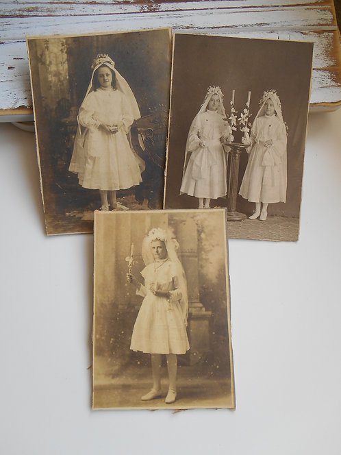 3 Antique Communion Photos