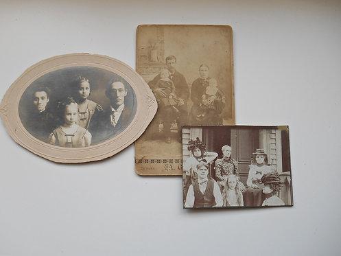 3 Antique Photos Family Theme