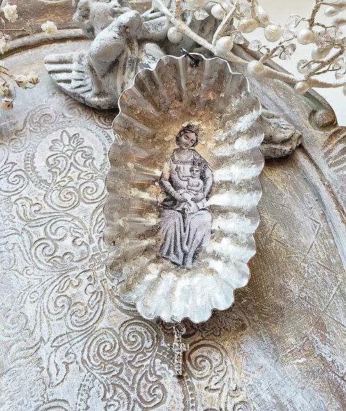 Vintage Tin Christmas Ornament Mother Mary & Jesus