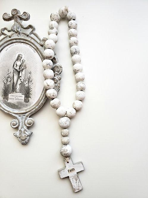 """Prayer Beads with Wood Cross """"FAITH"""""""