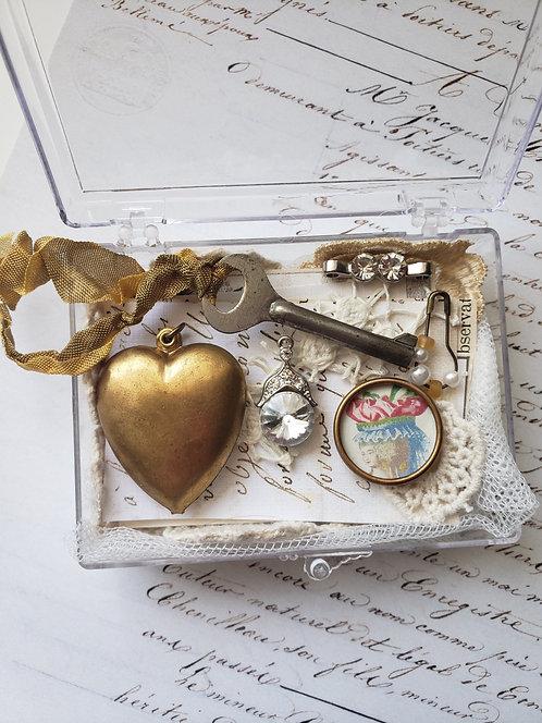 Vintage Puffy Brass Heart Supply Box