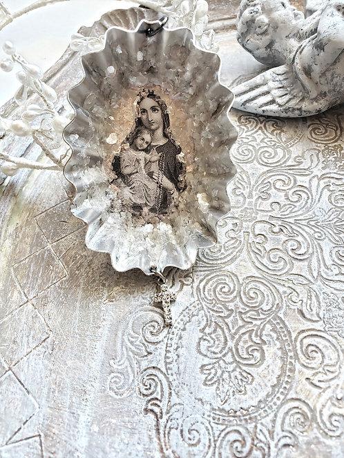 Vintage Tin Christmas Ornament Mary & Child