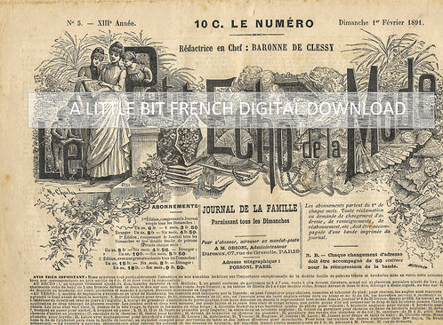 Digital Download Antique French Newspaper