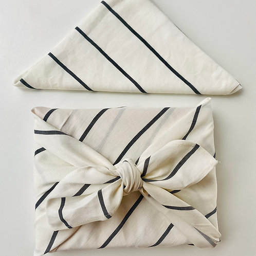 Luxury Reusable Fabric Wrapping - black and white, medium