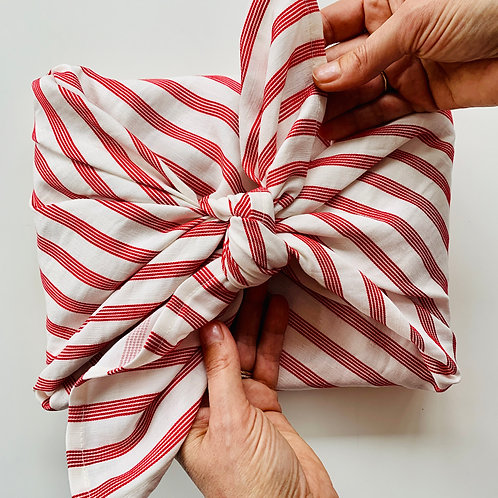 Luxury Reusable Fabric Wrapping - Candy Cane, Large