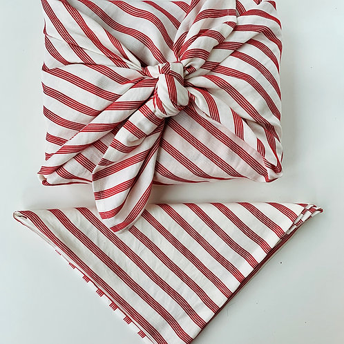 Luxury Reusable Fabric Wrapping - Candy Cane, Medium