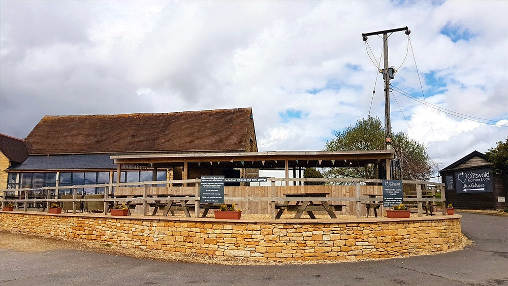Cotswold Food Store with the café terrace