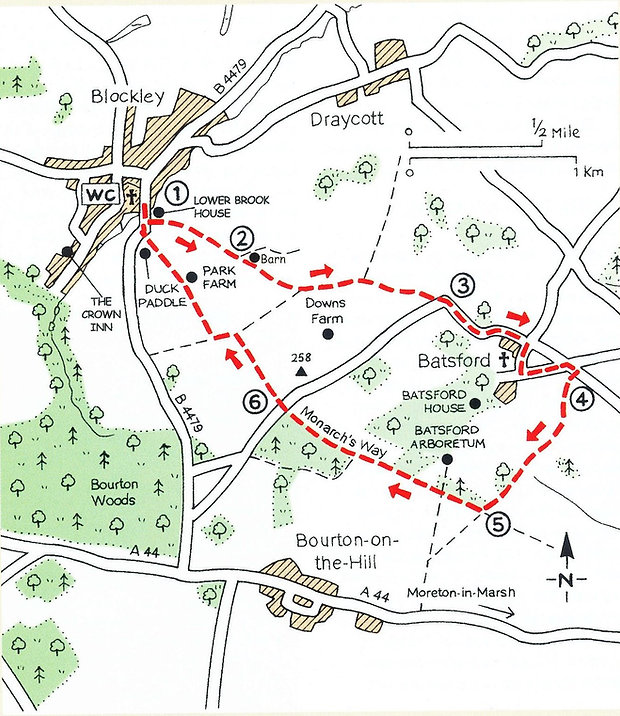 Walk from village of Blockley to Batsford village and back passing Batsford Arboretum on the way.