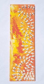 Mixed Media Painting with 100 Cranes