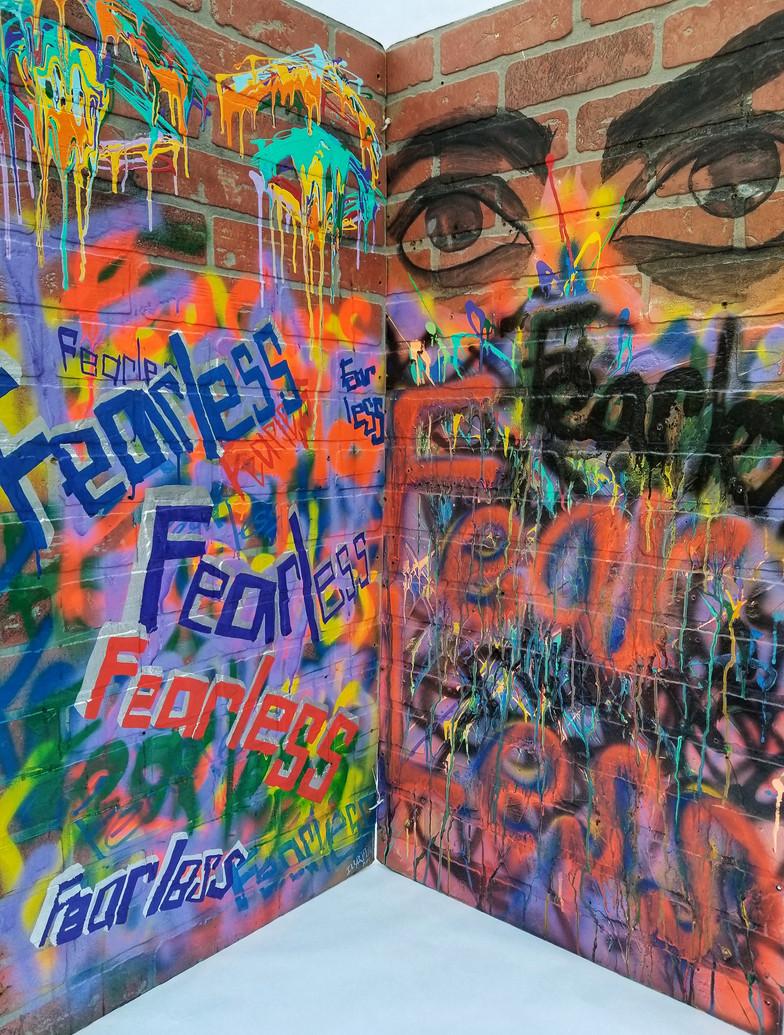 Illartpeace, FearLess x Fear less, 2019, Media on board and, 24in x 4ft, Birmingham, AL