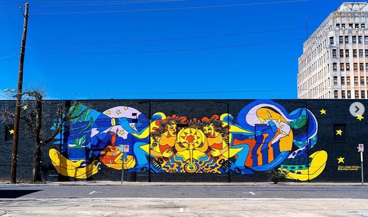 Erin LeAnn Mitchell, Acrylic on wall, 2020, 19th/F, Ensley, AL photo credit: Living Walls Atlanta