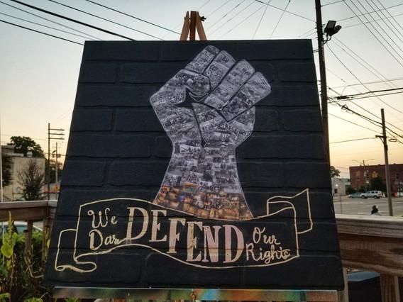 Illartpeace, We Dare Defend Our Rights, 2020, Collage on board, 36in x 36in, Birmingham, AL