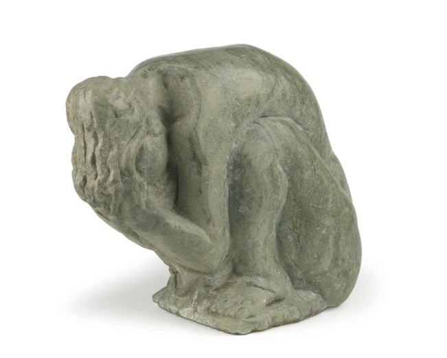 Selma Burke, Sadness, 1970, Carved Green Marble, 13 1/4 x 14 1/4 x 8 1/4 in, Swann Auction Galleries: African-American Fine Art