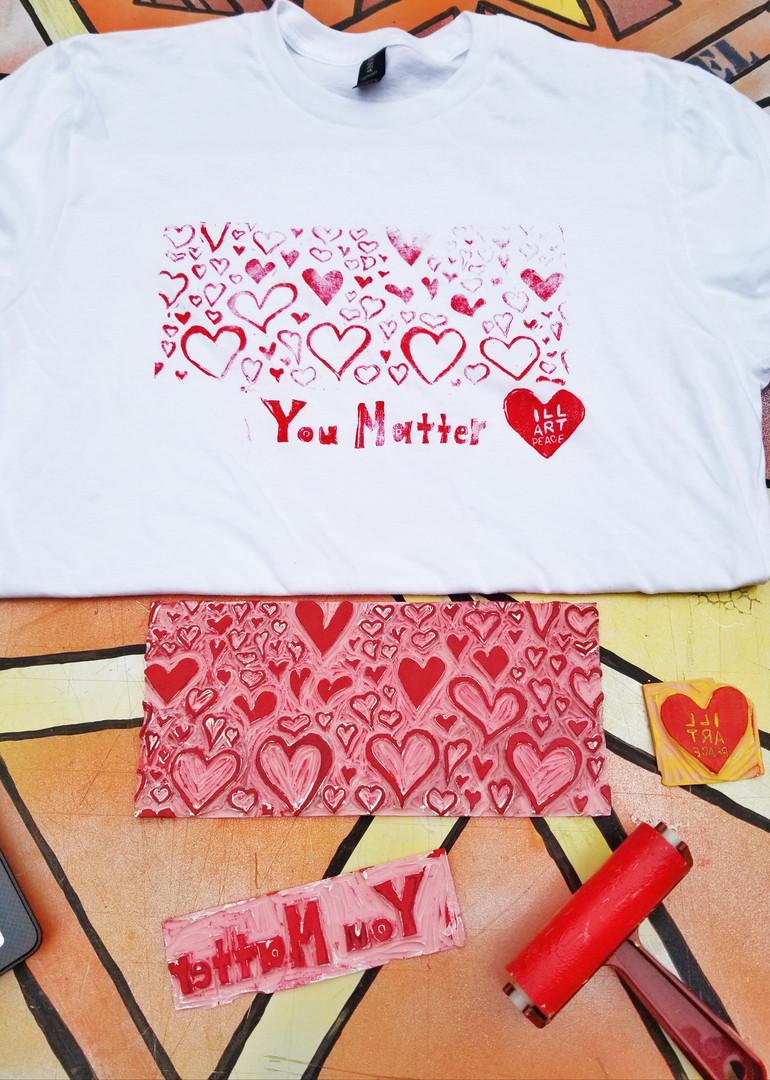 Tshirt Printmaking of 99 Hearts Mural