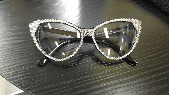 Crystal Cat Eyed Personality Glasses (Black Frame)