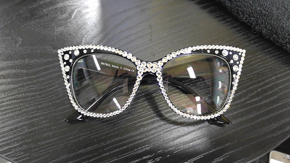 Crystal Cateye Personality Glasses (Black Frames)