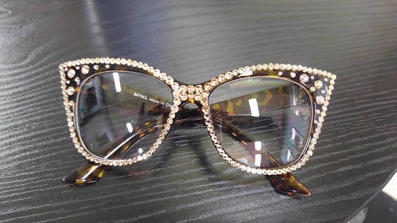 Crystal CatEyed Personality Glasses (Brown Frames)