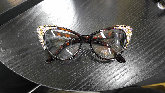 Crystal Cat Eyed Personality Glasses (Brown Frame)