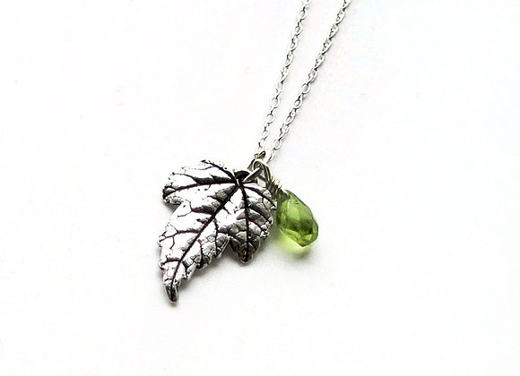 Silver Sycamore Leaf and Peridot Pendant