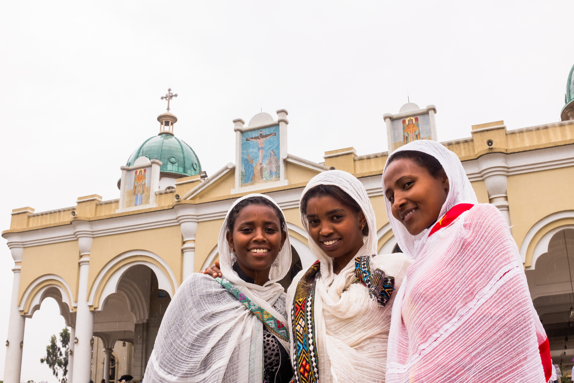 young women leaving Medhane Alem Cathedral