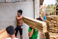 Timber yard workers