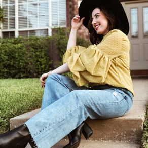 Bubble Sleeves with High Rise Denim:  Jayden P Boutique